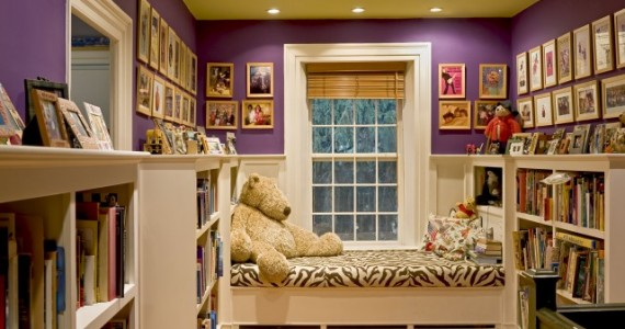 Adorable girls room with built-ins.